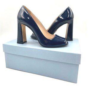 PRADA Dark Royal Blue Patent Leather Open Toe Pump
